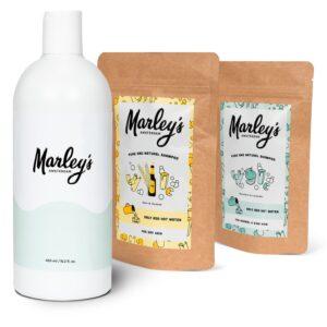 Starterspakket XL. Fles + twee shampoos naar keuze